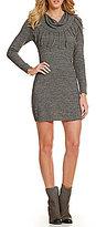 I.N. San Francisco Fringe Cowl Neck Sweater Dress