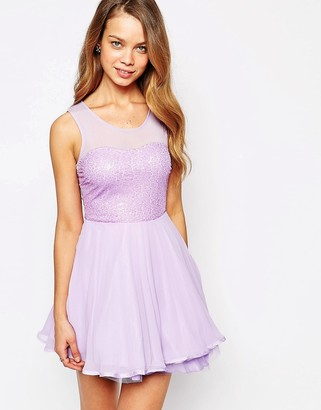 AX Paris Sequin Skater Dress with Pleated Skirt-Purple