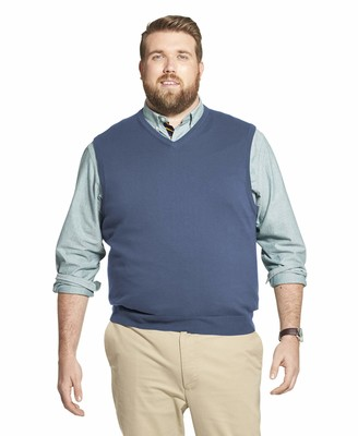 Izod Men's Big & Tall Big and Tall Premium Essentials Solid V-Neck 12 Gauge Sweater Vest