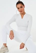 Missguided White Rib Notch Neck Bodysuit