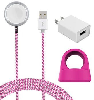 Posh Tech Pink/White Certified 5Ft Braided Apple Watch Charging Cable & Stand 2-Piece Set