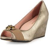 Taryn Rose Kande Jeweled Peep-Toe Wedge Pump, Cappuccino