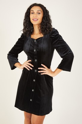 Yumi Black Puff Sleeve Party Dress
