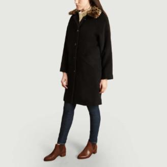 Suncoo Black Wool Ebony Coat - 2 | wool | black - Black/Black