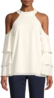 1 STATE Tier Ruffle Cold-Shoulder Blouse