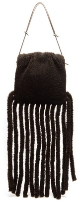 Bottega Veneta The Fringe Pouch Shearling Clutch Bag - Dark Brown