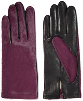 Agnelle Two-tone calf hair and leather gloves