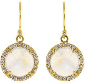 Irene Neuwirth 18kt yellow gold Classic rainbow moonstone and diamond drop earrings