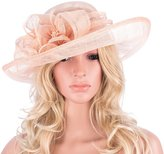 Lawliet Solid Color Womens New Kentucky Derby Sinamay Flower Wide Brim Hat T120