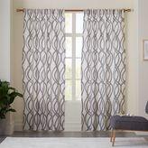 west elm Cotton Canvas Scribble Lattice Curtains (Set of 2) - Feather Gray