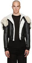 Rick Owens Black Shearling Bomber Jacket