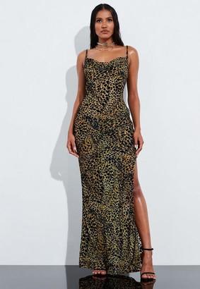 Missguided Brown Leopard Print Velvet Maxi Dress