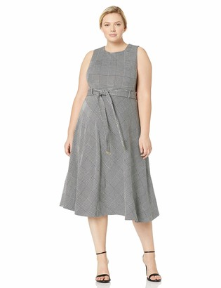Calvin Klein Women's Plus Size Sleeveless A-Line Belted Midi Dress