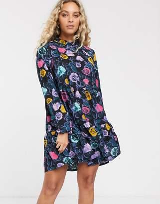 Monki rose print mini smock dress in multi-Black