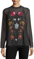 philosophy Long-Sleeve Point d'Esprit Embroidered Blouse
