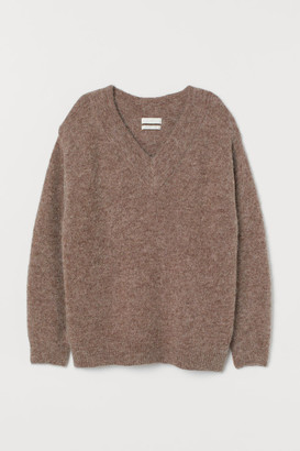 H&M Knit Wool-blend Sweater - Brown
