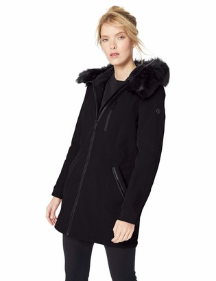 Calvin Klein Women's Jacket Anorak Trimmed Hood with Detachable Faux Fur and Fuzzy Fleece Lining