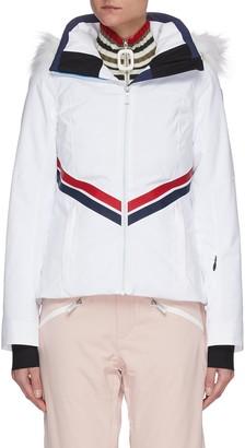 Rossignol 'Enbleme' Diagonal Stripe Fur Trim Hood Ski Jacket