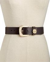 MICHAEL Michael Kors Leather Belt with MK Cutout Logo Disc Belt