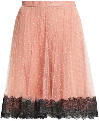 RED Valentino Lace-trimmed Point D'esprit Skirt