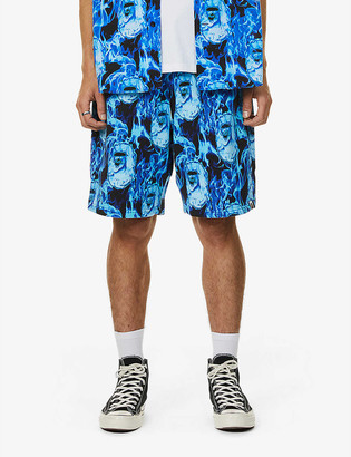 A Bathing Ape Flame print cotton-jersey shorts