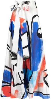 Stella Jean Abstract-Print Maxi Skirt