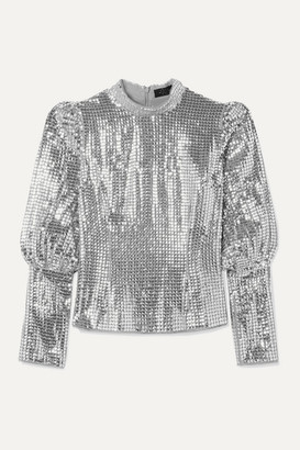 De La Vali Jane Sequined Crepe Top