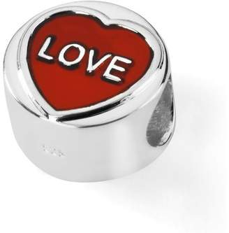 Love Hearts Official Sterling Silver & Translucent Red Enamel LOVE Charm