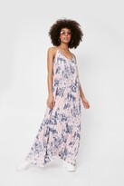 Thumbnail for your product : Nasty Gal Womens Tie Dye Print Pleated Strappy Maxi Dress - Pink - 4