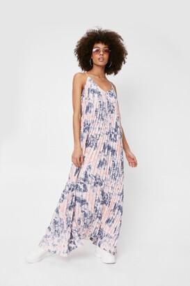 Nasty Gal Womens Tie Dye Print Pleated Strappy Maxi Dress - Pink - 4
