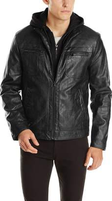 Kenneth Cole Reaction Men's Marble Faux Leather Moto Jacket with Hood