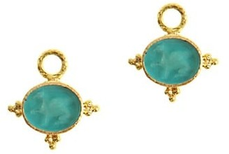 Elizabeth Locke Venetian Glass Intaglio Swimming Pool 'Grifo' 19K Gold Earring Pendants