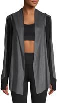 Blanc Noir Hooded Drape-Front Jacket
