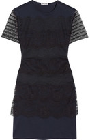 Miu Miu Lace And Cotton-jersey Mini Dress - Navy
