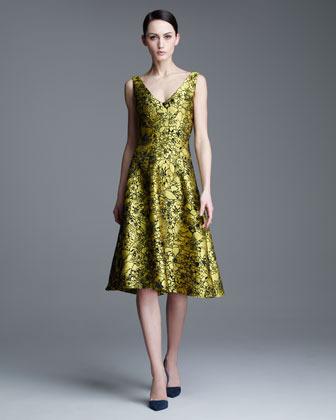 Lela Rose Illustrated Metallic Jacquard Dress