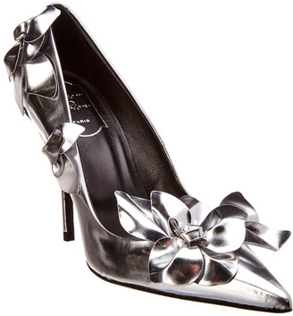 Roger Vivier Flower Metallic Leather Pump