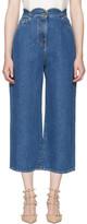Valentino Blue Wide-leg Scallop Waist Jeans