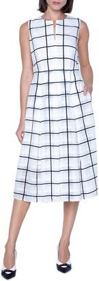 Akris Windowpane Print Midi Dress