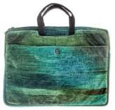 Bamboo chenille and cotton laptop case (14 inch), 'Iridescent Jade'