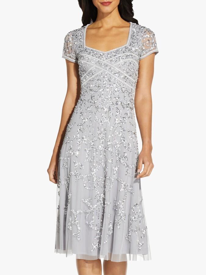 Adrianna Papell Beaded Sweetheart Knee Length Dress, Silver Mist