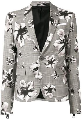 Neil Barrett Check Floral Blazer