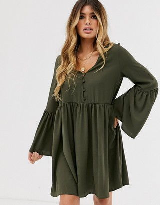 ASOS DESIGN button through mini smock dress with fluted sleeves in khaki