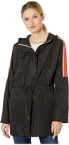 Elliott Lauren Zip Front Hooded Anorak Jacket with Contrast Tape (Black) Women's Clothing