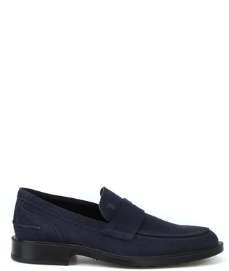 Tod's Tods Rubber Sole With Pebbles Blue Suede Loafers