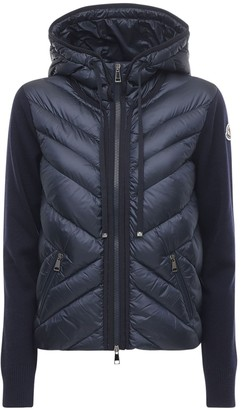 Moncler Hooded Wool Tricot & Nylon Down Jacket