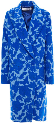 Victoria Victoria Beckham Double-breasted Brushed Floral-jacquard Coat