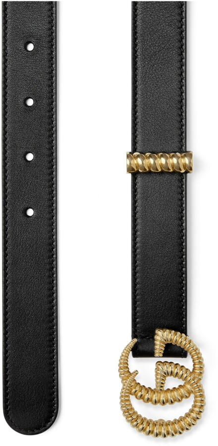 Thumbnail for your product : Gucci Leather belt with torchon Double G buckle