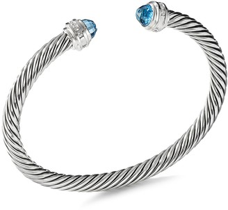 David Yurman 'Cable Classics' diamond topaz silver cuff