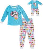 Dollie & Me Blue Emoji Pajama Set & Doll Outfit - Toddler & Girls