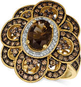 LeVian Le Vian Chocolatier® Chocolate Quartz® (1 ct. t.w.) & Diamond (1 ct. t.w.) Floral Ring in 14k Gold